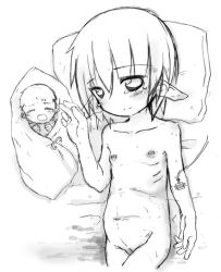 1girl baby flat_chest intravenous_drip loli lowres lying monochrome navel nipples nude on_back original pointy_ears pregnant pussy siromine