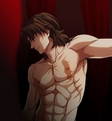 1boy abs brown_eyes brown_hair cross dairii fate/stay_night fate_(series) kotomine_kirei male manly muscle shirtless solo tattoo