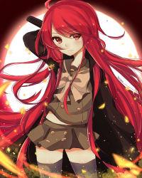 1girl absurdres coat fire highres jewelry long_hair necklace red_eyes red_hair school_uniform serafuku shakugan_no_shana shana thighhighs yumyum