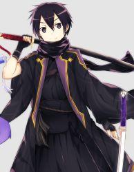 1boy black_eyes black_hair fingerless_gloves gloves japanese_clothes kirito mizuna_mizuna short_hair simple_background sword sword_art_online weapon