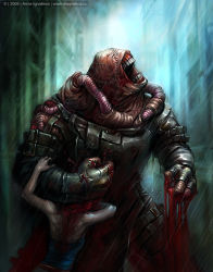 1girl bad_end belt blood box_art capcom death guro jill_valentine monster nemesis rain resident_evil resident_evil_3 skirt