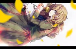 1girl blonde_hair blue_eyes dress flower green_dress ib long_hair lying mary_(ib) md5_mismatch palette_knife petals rose shiyunoa yellow_rose
