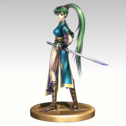 1girl boots breasts china_dress chinese_clothes earrings fingerless_gloves fire_emblem fire_emblem:_rekka_no_ken gloves gonzarez gradient gradient_background green_eyes green_hair high_ponytail jewelry katana knee_boots long_hair lyndis_(fire_emblem) nintendo ponytail sheath sheathed side_slit smile solo super_smash_bros. sword trophy very_long_hair weapon