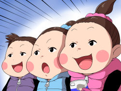 3girls black_eyes blush_stickers brown_hair cellphone emphasis_lines hair_bun hair_ornament hair_scrunchie hood maruihito multiple_girls nishigoori_axel nishigoori_loop nishigoori_lutz open_mouth phone ponytail scrunchie siblings sisters smartphone smile triplets yuri!!!_on_ice zipper