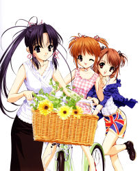 3girls ;) artist_request bangs bare_legs basket bicycle black_shoes black_skirt blouse brown_eyes brown_hair choker collarbone dress eyelashes flag_print flower frills hair_ornament hair_ribbon hairclip haruka_(sister_princess) highres hinako hinako_(sister_princess) multiple_girls off_shoulder one_eye_closed parted_lips plant ponytail purple_eyes purple_hair ribbon riding shoes short_sleeves short_twintails shorts siblings sidelocks simple_background sister_princess sisters skirt sleeveless sleeveless_dress smile sunflower swept_bangs tress_ribbon twintails union_jack white_background white_blouse wink yotsuba_(sister_princess)
