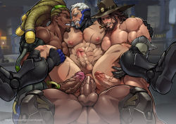 4boys abs age_difference anal anus armor artist_name artist_request ass bara beard blue_eyes blush boots brown_hair cigar clenched_teeth dark_skin erection facial_hair gloves green_eyes group_sex hat interracial large_penis leg_lift lifting lucio_(overwatch) male_focus mccree_(overwatch) multiple_boys muscle nipples nude orgy overwatch pecs penis pubic_hair reaper_(overwatch) red_eyes sandwiched scar sec sex shoes silver_hair sitting sitting_on_person smile soldier:_76_(overwatch) sweat teeth testicles text uncensored yaoi