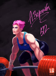 1girl bike_shorts eyebrows female highres ioruko knee_pads lips muscle muscular_female overwatch pink_hair scar short_hair solo squatting tank_top undercut weightlifting weights zarya_(overwatch)