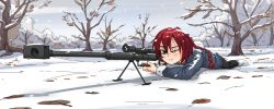 1girl aiming black_legwear braid darker_than_black green_eyes gun highres kiriririn long_image lying on_stomach pantyhose red_hair rifle scope short_hair single_braid sniper_rifle snow solo suou_pavlichenko weapon wide_image