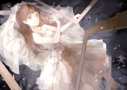 1girl bare_shoulders brown_eyes brown_hair dress ib ib_(ib) long_hair looking_at_viewer lying nine_(liuyuhao1992) picture_frame revision smile solo veil wedding_dress