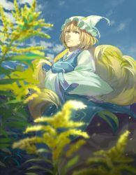 1girl animal_ears bangs blonde_hair blue_sky blurry breasts closed_mouth cloud day depth_of_field dutch_angle fox_ears fox_tail frills from_below hands_in_sleeves hat hidebo highres kyuubi long_sleeves looking_away medium_breasts multiple_tails outdoors pillow_hat plant shade sky smile solo standing tabard tail tassel touhou wide_sleeves wind yakumo_ran yellow_eyes
