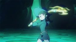 10s 1girl akko_kagari animated axe brown_hair kagari_atsuko little_witch_academia weapon witch_hat