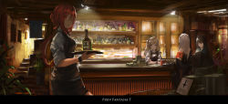 4girls alcohol aqua_eyes bartender black_hair blonde_hair bowtie highres long_hair looking_at_viewer money multiple_girls open_mouth pixiv_fantasia pixiv_fantasia_t ponytail red_eyes red_hair renatus.z smile twintails white_hair wine_bottle