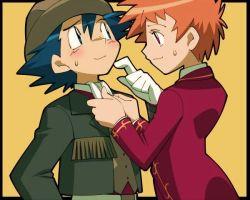 black_hair hat nozomi_(pokemon) pokemon red_hair satoshi_(pokemon) suit tagme