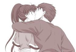 1boy 1girl dress earrings eyes_closed fire_emblem fire_emblem:_rekka_no_ken hector hug kiss lyndis_(fire_emblem) monochrome shirt surprise tagme