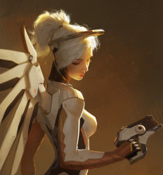 1girl blonde_hair bodysuit breasts brown_background eyelashes eyes_closed facing_away gun hair_tie handgun high_ponytail highres holding holding_gun holding_weapon looking_down looking_to_the_side mechanical_halo mechanical_wings medium_breasts mercy_(overwatch) nose overwatch pink_lips pistol realistic solo upper_body weapon wings xiaofei_syrup yellow_wings