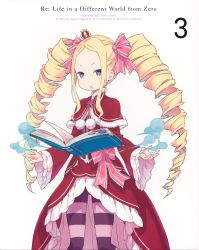 1girl absurdres beatrice_(re:zero) blonde_hair blue_eyes book capelet crown dress drill_hair hair_ribbon highres long_hair magic mini_crown official_art ootsuka_shin'ichirou open_book open_mouth pantyhose pink_ribbon re:zero_kara_hajimeru_isekai_seikatsu red_dress ribbon simple_background solo standing striped striped_legwear twin_drills very_long_hair white_background