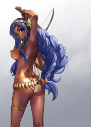 1girl arm_up armpits ass bikini blue_hair blush bow_(weapon) bracelet braid breasts butt_crack character_request crossbow dark_skin hairband jewelry large_breasts long_hair looking_at_viewer nipples open_mouth sasayuki sennen_sensou_aigis simple_background smile solo swimsuit thigh_strap topless twin_braids weapon white_bikini white_swimsuit