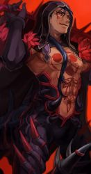 1boy black_gloves blue_hair cowboy_shot cu_chulainn_alter_(fate/grand_order) fate/grand_order fate_(series) gloves highres hood lancer long_hair looking_at_viewer male_focus muscle red_background red_eyes ruchi shirtless solo spikes tattoo tongue