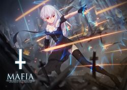 1girl armor bandage braid cross cross_of_saint_peter dress gloves highres logo magic maredoro pixiv_fantasia pixiv_fantasia_t red_eyes solo thighhighs watermark weapon white_hair