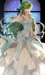 1girl breasts c.c. cleavage code_geass cosplay creayus double_bun euphemia_li_britannia euphemia_li_britannia_(cosplay) green_hair long_hair looking_at_viewer solo twitter_username yellow_eyes