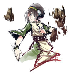1girl avatar:_the_last_airbender avatar_(series) black_hair blind blue_eyes cowboy_shot die_(artist) die_(die0118) hair_bun hairband rock sash smile solo toph_bei_fong wide_sleeves wristband