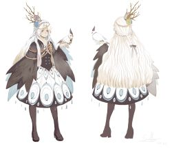 1girl asllence bird birdcage blue_eyes cage cape character_sheet dress expressionless high_heels highres long_hair object_on_head pixiv_fantasia pixiv_fantasia_t pointy_ears simple_background very_long_hair wavy_hair white_hair wide_sleeves