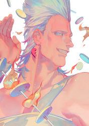 1boy blue_eyes coin earrings fire grin jean_pierre_polnareff jewelry jojo_no_kimyou_na_bouken male_focus rei_(sanbonzakura) silver_hair smile solo sword upper_body weapon wristband