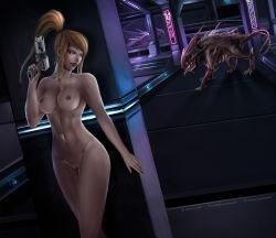 1girl abs metroid monster nude samus_aran tagme