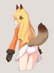 /\/\/\ 1girl animal_ears arms_at_sides ass blazer blonde_hair brown_gloves brown_hair commentary cowboy_shot cropped_legs expressionless eyebrows_visible_through_hair ezo_red_fox_(kemono_friends) fox_ears fox_tail from_behind from_side fur-trimmed_sleeves fur_trim gloves grey_background inconvenient_tail jacket kemono_friends long_hair long_sleeves looking_away motion_lines multicolored_hair no_legwear orange_eyes orange_jacket panties pantyshot pantyshot_(standing) profile simple_background solo standing tail tail_wagging tsurime two-tone_hair underwear white_panties yarerubabaa