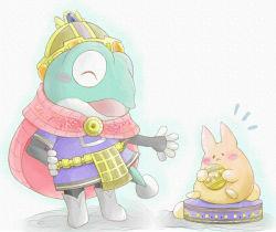 1boy aoneko_(aonekoyumi) blush boots bunny cape chibi crown eyes_closed filmia frog furry open_mouth solo the_legend_of_legacy