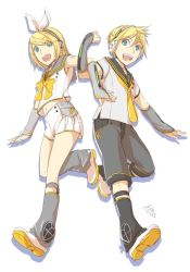 1boy 1girl arm_tattoo arm_warmers artist_name bangs bass_clef blonde_hair blue_eyes blunt_bangs brother_and_sister buttons commentary_request crossed_arms fortissimo grey_shirt hair_ornament hair_ribbon hairclip headphones ichi_ka kagamine_len kagamine_len_(vocaloid4) kagamine_rin kagamine_rin_(vocaloid4) leg_warmers looking_at_viewer midriff navel necktie pleated_skirt ribbon sailor_collar screen shirt shoes short_hair shorts siblings signature skirt sleeveless sleeveless_shirt smile speaker tattoo tennis_shoes treble_clef twins v4x vocaloid white_background white_skirt