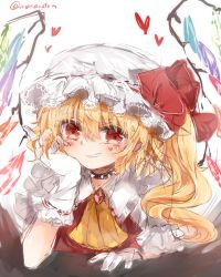 1girl ascot blonde_hair blush bow collar colored crystal flandre_scarlet gloves hat hat_bow heart highres kuromitsu_maria looking_at_viewer mob_cap ponytail puffy_sleeves red_eyes shirt short_hair short_sleeves side_ponytail simple_background sketch smile solo spiked_collar spikes teeth touhou twitter_username vest white_background white_gloves wings