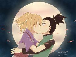 black_hair blonde_hair fingerless_gloves kiss moon nara_shikamaru naruto naruto:_the_last night_sky petals shimatori042 temari topknot twintails