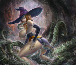 1girl ass breasts brown_hair cave detached_sleeves dragon's_crown dress hanging_breasts huge_breasts monster nail_polish nipples oral paulo_barrios sorceress_(dragon's_crown) suckers tentacle tentacle_sex water witch_hat