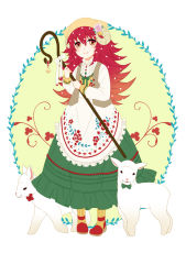 1girl animal animal_ears animal_hat apron bow buttons closed_mouth collar flaky flower frilled_skirt frills full_body green_skirt hair_flower hair_ornament happy_tree_friends hat holding holding_staff horns long_hair long_skirt long_sleeves looking_at_viewer muimui_uzuki open_clothes open_vest orange_eyes personification red_hair sheep shirt shoes skirt smile solo staff standing striped striped_legwear undershirt vertical-striped_legwear vertical_stripes vest white_bow white_shirt