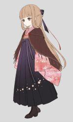 1girl boots brown_eyes brown_hair cape female_saniwa_(touken_ranbu) floral_print hair_ribbon hakama japanese_clothes meiji_schoolgirl_uniform ribbon saniwa_(touken_ranbu) touken_ranbu zek_(zecola)