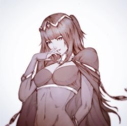 1girl bodystocking breasts cape cleavage covered_navel female finger_to_mouth fire_emblem fire_emblem:_kakusei gradient gradient_background hime_cut monochrome raikoart smile solo tharja tiara upper_body white_background