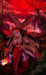1girl arm_up blonde_hair cross cross_necklace flower full_moon glowing glowing_weapon highres knife long_hair looking_at_viewer moon nun petals pixiv_fantasia pixiv_fantasia_sword_regalia red_eyes red_moon red_rose rose rose_petals tateshina_ryouko torn_clothes very_long_hair vines weapon