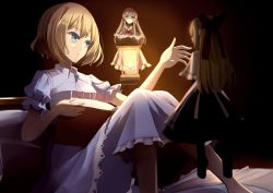 1girl alice_margatroid apron bangs black_dress blonde_hair blue_eyes blue_skirt book bow capelet clere dress dress_shirt frilled_skirt frills hair_bow hourai_doll knees_up lantern looking_at_another on_bed open_book parted_lips puffy_short_sleeves puffy_sleeves red_bow shanghai_doll shirt short_hair short_sleeves skirt touhou waist_apron white_shirt