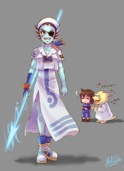 2016 2girls :3 :d alphys androgynous ankle_boots aria barefoot beret blue_skin blush_stickers boots bracelet brown_hair creature dress energy_spear energy_weapon eyepatch eyes_closed fingerless_gloves flower_(symbol) frisk_(undertale) full_body glasses gloves grey_background grin hat head_fins heart highres japanese jewelry labcoat mizunashi_akari mizunashi_akari_(cosplay) monster_girl multiple_girls mz15 open_mouth polearm red_hair sailor_dress shaded_face shadow sharp_teeth shirt shorts signature simple_background single_glove smile spear striped striped_shirt sweat sweating_profusely tail teeth thumbs_up translation_request undertale undyne weapon yellow_sclera yellow_skin