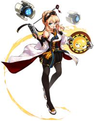 1girl absurdres adjusting_glasses aqua_eyes bare_shoulders belt black_skirt blonde_hair blue_ribbon bridal_gauntlets cape clenched_teeth detached_sleeves dress elsword eyebrows fire flame full_body glasses goggles goggles_on_head gun hair_intakes hair_net hair_ornament handgun high_heels highres holding holding_gun holding_weapon jewelry looking_at_viewer metal_heart_(elsword) official_art open_mouth pantyhose pet pistol ress ribbon ring robot rose_(elsword) shoes skirt standing teeth transparent_background weapon wide_sleeves