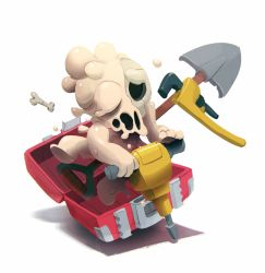 1boy bone case jackhammer justin_chan male_focus melting_(nuclear_throne) nuclear_throne official_art shovel skull solo white_background worktool wrench