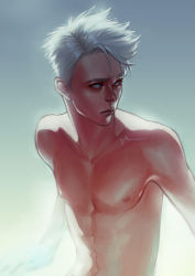 1boy abs amoona artist_name blue_eyes highres original shirtless solo upper_body white_hair