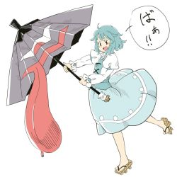 1girl :d blue_eyes blue_hair blue_skirt blue_vest blush_stickers chii-kun_(seedyoulater) from_side full_body geta heterochromia juliet_sleeves karakasa_obake long_sleeves open_mouth puffy_sleeves red_eyes simple_background skirt smile solo tatara_kogasa tongue touhou translation_request umbrella white_background