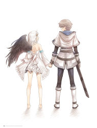 1boy 1girl artist_name bare_back barefoot black_wings brown_hair copyright_name detached_sleeves dress eye_contact feathered_wings fried_karim full_body gloves green_eyes hand_holding highres looking_at_another panis_angelicus sheath shining_(series) shining_world short_dress short_hair silver_hair simple_background single_wing sleeveless sleeveless_dress smile standing tanaka_takayuki white_background white_dress white_gloves wings