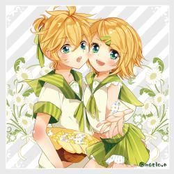 1boy 1girl alternate_costume blonde_hair green_eyes kagamine_len kagamine_rin maclo short_hair siblings vocaloid