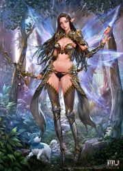 1girl absurdres animal armor bikini_armor black_hair blue_eyes breasts cleavage dospi fairy_wings forest full_body greaves highres long_hair mu_origin nature official_art pointy_ears solo standing thighhighs wings