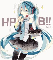 1girl aqua_eyes aqua_hair cake character_name detached_sleeves eating food hatsune_miku long_hair necktie skirt solo thighhighs twintails very_long_hair vocaloid white_background youshun_(sugafo)