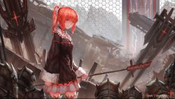 1girl copyright_name from_side high_ponytail highres holding holding_weapon long_hair looking_at_viewer pixiv_fantasia pixiv_fantasia_t red_eyes red_hair solo weapon zeixique