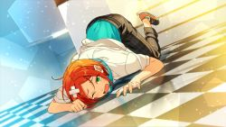 1boy aoi_yuuta bandaid blush checkered checkered_floor dutch_angle ensemble_stars! green_eyes headphones headphones_around_neck looking_at_viewer male_focus official_art one_eye_closed open_mouth orange_hair solo sparkle tearing_up top-down_bottom-up
